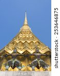 golden pagoda with 2 giants in... | Shutterstock . vector #253646875