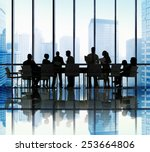 silhouette group of business... | Shutterstock . vector #253664806