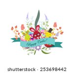 floral easter eggs with bunny | Shutterstock .eps vector #253698442
