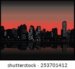 silhouette of city at sunset | Shutterstock .eps vector #253701412