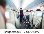 interior of airplane with... | Shutterstock . vector #253704592