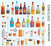 drinks and beverages icon set | Shutterstock .eps vector #253712812