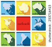 continent icons | Shutterstock .eps vector #253716415