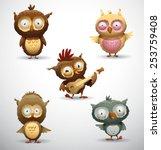 set of owls  vector | Shutterstock .eps vector #253759408
