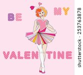valentine's day card with clown ... | Shutterstock . vector #253763878