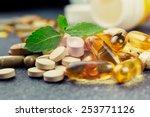 pills and multivitamins on a...   Shutterstock . vector #253771126