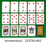 Playing cards, diamonds suite, joker and back. Green background. - stock photo