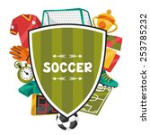 sports background with soccer... | Shutterstock .eps vector #253785232