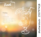 tropical cocktail with ice and... | Shutterstock .eps vector #253797418