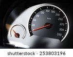 close up shot of a speedometer... | Shutterstock . vector #253803196