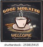 good morning chalkboard cafe... | Shutterstock .eps vector #253815415