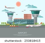 airport landscape with place... | Shutterstock .eps vector #253818415