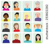 set of vector portraits of... | Shutterstock .eps vector #253822282
