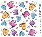 coffee cups pattern on white... | Shutterstock . vector #253832632