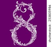 calligraphic font. number eight....   Shutterstock .eps vector #253835986