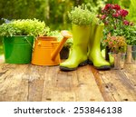 Outdoor Gardening Tools On Old...