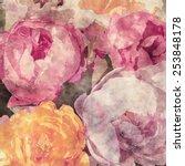 art grunge floral warm sepia... | Shutterstock . vector #253848178