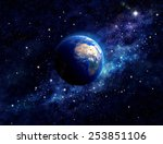 planet earth in outer space.... | Shutterstock . vector #253851106