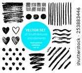 vector set of brush textures... | Shutterstock .eps vector #253883446