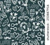 cute vector hand drawn pattern... | Shutterstock .eps vector #253887916