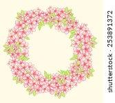 cherry blossom wreath | Shutterstock .eps vector #253891372