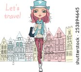 fashionable hipster girl... | Shutterstock .eps vector #253894645