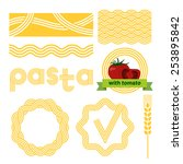 pasta package labels design set.... | Shutterstock .eps vector #253895842