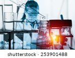 scientist with equipment and... | Shutterstock . vector #253901488