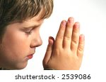young boy praying on white... | Shutterstock . vector #2539086