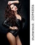 fashion rocker style model girl ... | Shutterstock . vector #253943056
