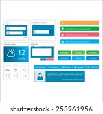 blue flat color ui vector set
