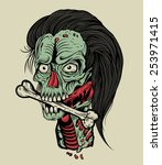 illustration zombie head with a ... | Shutterstock .eps vector #253971415
