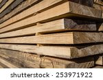 Stacked Wood Pine Timber For...