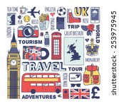 england travel set. vector. | Shutterstock .eps vector #253975945