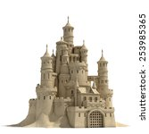 Sand Castle Isolated On White...