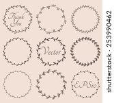 Circular vintage floral hand drawn frames. Vector eps10.