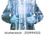 double exposure of businessman... | Shutterstock . vector #253994332