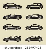 vector black auto icon set on... | Shutterstock .eps vector #253997425