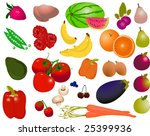 isolated fruit and vegetables   Shutterstock .eps vector #25399936