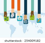 social networking design ... | Shutterstock .eps vector #254009182