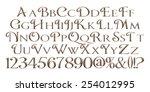 3d metal letters style alphabet ...   Shutterstock . vector #254012995