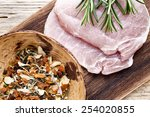 pork chop  meat slices  on a... | Shutterstock . vector #254020855