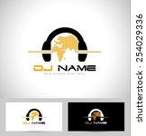 dj logo design. creative vector ... | Shutterstock .eps vector #254029336