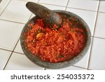 sambal  special spicy chili... | Shutterstock . vector #254035372