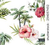 watercolor  vector  hawaii ... | Shutterstock .eps vector #254057452