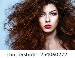 closeup portrait of attractive... | Shutterstock . vector #254060272