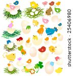 easter set  chicken and eggs | Shutterstock .eps vector #25406980