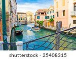 View from an old venetian bridge, Italy - stock photo
