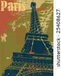 Grunge Style Eiffel Tower Layout