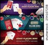 hold'em poker banner set with... | Shutterstock .eps vector #254107258